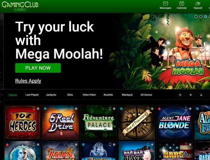 Gaming Club Casino screen